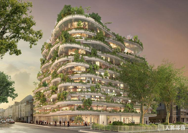 城市悬挂式花园商业建筑效果图